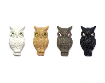 Set of 2 German Detailed Owl Cabochon Cab great for Rings or Earrings with Crystal eyes 16mm x 31mm 4 Color Options