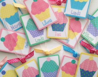 Cupcake Party Favor Cupcake Bag Tag Personalized Cupcake Box Tags Personalized Party Favors Baking Party Favors Cupcake Baby Shower Favors