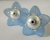 Blue Flower Lucite White Pearl Silver Filigree Dangle Earrings