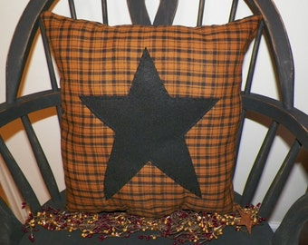 UNSTUFFED Primitive Pillow Cover Barn Star Prim Country Rustic Home Decor Decoration For Couch or Chair Can Buy 2 and Make a Set wvluckygirl