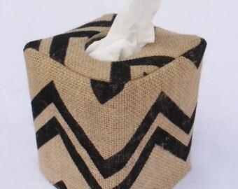 Black chevron burlap tissue box cover