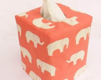 Coral Elephant reversible tissue box cover