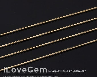 NP-1533 Gold plated, 0.8mm Faceted ball, Chain, 1 meter