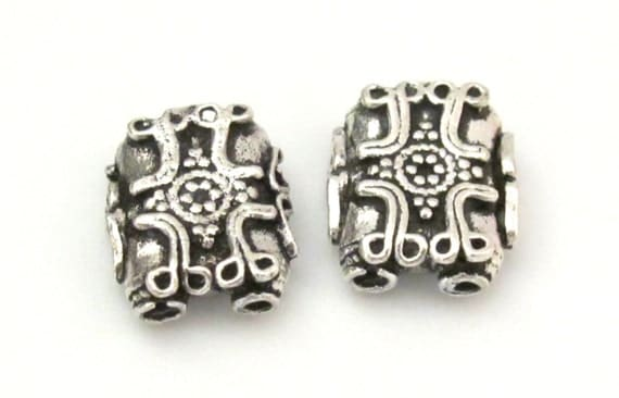 2 BEADS - Sterling silver plated cross design 2 hole rectangular shape beads - BD603A