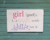 Nursery Wall Art  Girl - A Giggle with Glitter on it Typography Word Art Sign
