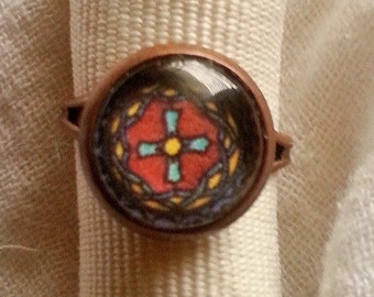 CLEARANCE Colorful Mandala  Petite 12 mm Glass Cameo Ring on Copper Adjustable Setting