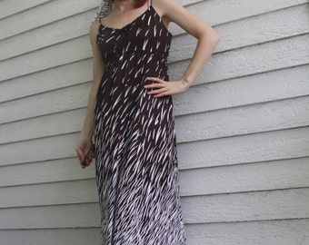 Maxi Dress Brown White Hippie Print Vintage 70s Sleeveless Leslie Fay S M