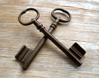large vintage french skeleton keys - old gate keys - 2 iron gate keys (T-53h)