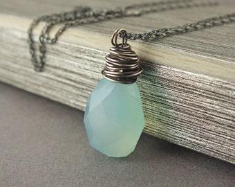 Aqua Chalcedony Oxidized Necklace, Seafoam Chalcedony Wrapped Necklace