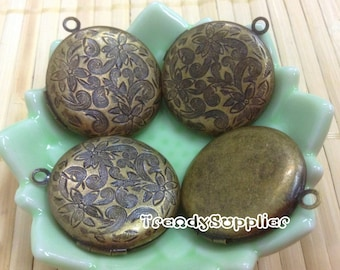 Antique Brass 27mm Round Carved Flower Pattern Locket Charms, 4 pcs