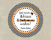 Personalized Gift Tags Printable - Bugs and Kisses Halloween - Halloween Tags  - Digital File