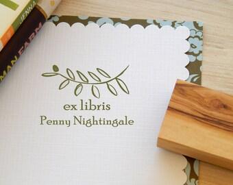 Custom Elegant Olive Branch Ex Libris Olive Wood Stamp