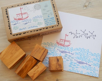 Out Fishing - Greek Themed Multi-Olive Wood Stamp Box Set - 5 stamps