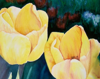 Yellow Tulips Watercolor Print