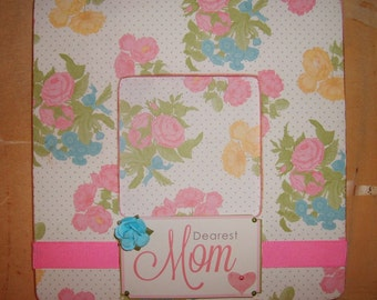 Dearest Mom Floral Decoupaged Picture Frame