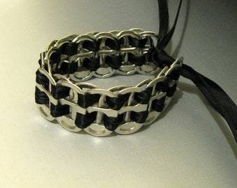 Soda Pop Can Tab Bracelet Recycled, Black Ribbon
