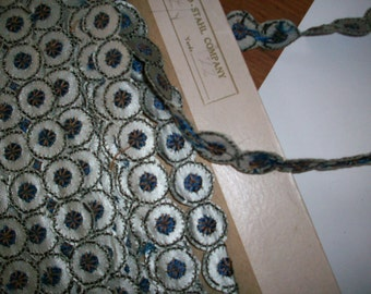 1 yard of a Hand loom embroidery deco period leather and metal look