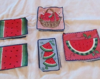 vintage WATERMELON APPLIQUES layered batting appliques for clothing, crafts, etc.  (5 appliques)