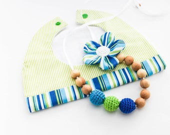 Green Blue Gift Set: Nursing Necklace/Teething and Baby Bib Made in Israel by CasaDeGato
