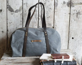 The Day Bag in Slate, Waxed Canvas Bag, Waxed Canvas Tote, Waxed Canvas Tool Bag, Waxed Canvas Duffle, Duffel, Gift for Him, Gym Bag, Canvas