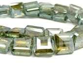 20pcs Yellow Olive 13mm Square Designer Crystal Glass Faceted nugget Beads half coat