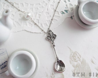 Antique Silver Absinthe Spoon and Pearl Necklace