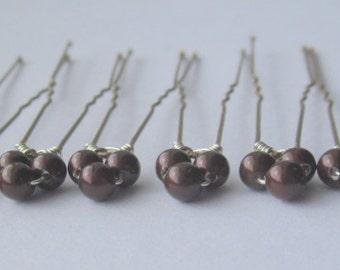 Maroon Triple Bridal Hair Pins, Wedding Hair Pins, Pearl Bobby Pins, Swarovski Hair Pins, Single Pearl Hair Pins - Set of 6 Hair Pins
