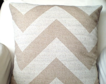 Tan White Chevron Pillow Covers Decorative Throw Pillow Cushions Cloud Denton Burlap-LikeTan Off White Chevron Zig Zag One or More ALL SIZES