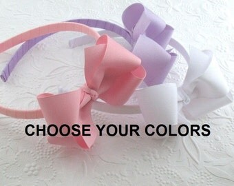 Bundle Set ~ 10 Bow Headbands, Boutique Bows on Hard Headbands fit Toddlers, Girls, Tweens, Adults, Back To School Hair Bows