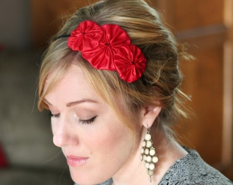 Red Flower Headband, Rosette Trio for Girls and Women
