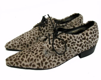 NaNa Leopard Winklepicker Shoes Vintage 80s New Wave Mens Pointed Toe Made In England Mns  US Size 7