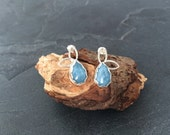 Sterling silver handmade earrings with aquamarine cabochons, hallmarked in Edinburgh