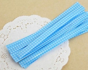 Twist Ties Gingham in 3 colours available: Red – Pink – Light Blue – set of 50