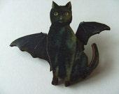 BATCAT, the super cat, bat cat brooch, black, wood, bat, cat, brooch, by NewellsJewels on etsy