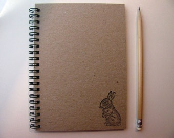 Baby Bunny hand stamped chipboard notebook- 5 x 7 inches