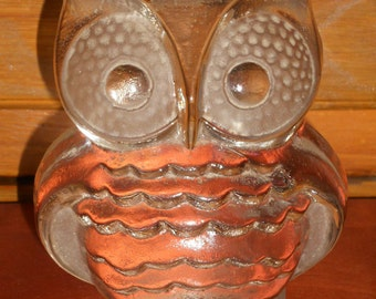 Vintage Viking Solid Glass Owl Bookend/Paper Weight/Figurine