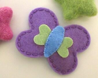 Felt hair clip -No slip -Wool felt -Becky the butterfly -lavender