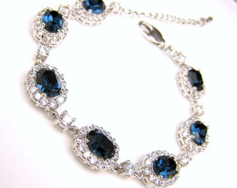 bridesmaid jewelry bracelet bridal wedding bracelet christmas party gift swarovski rhinestone oval montana navy blue cubic zirconia bracelet