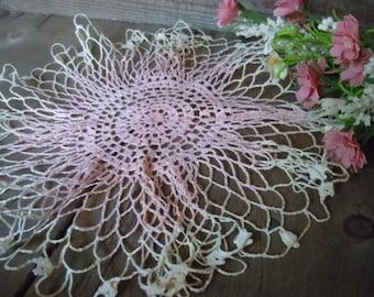 Vintage Doily Pale Pink and Cream Romantic Shabby Rustic Crochet Handmade Delicate Needlework Home Decor Strawberry Creme AMarigoldLife