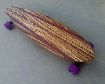 "EXOTIC WOOD Skateboard - Zebrawood w/Purpleheart - ""Boneyard"""