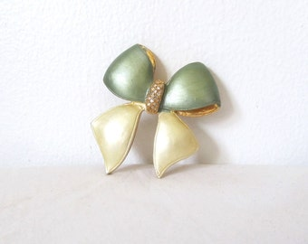 vintage brooch pin bow 1980s sage green gold 80s rhinestones jewelry accessories