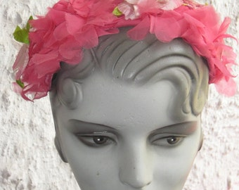 Fab Vintage 1950s 1960s Pink Band Hat Flowers Spring Summer Hat WOW