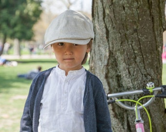 "Linen Newsboy Cap for kids ""Henry"""