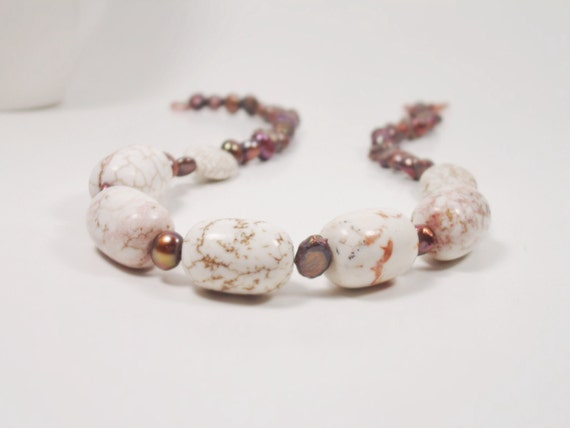 SALE Chunky Bead Gemstone Necklace . Web Jasper and Pearls . Brown and White . Urban chic Boutique Jewelry . Earthy . Clearance OOAK   UNITY