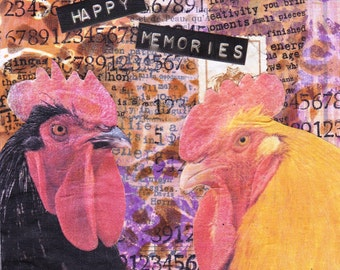 """Memories- an original mixed media collage on mdf - 4"""" x 4""""."""