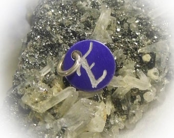 Letter E Hand Engraved Purple Personalized Small  Charm 1/2 inch