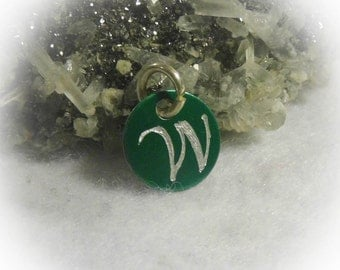 Letter W Hand Engraved Green Personalized Small  Charm 1/2 inch