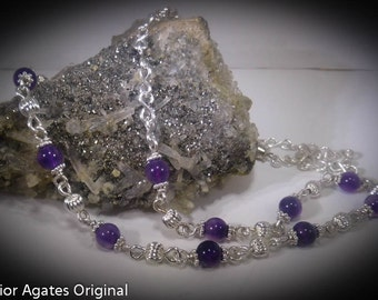 Purple Agate Beaded 20 inch Silver Hand Made Necklace Chain