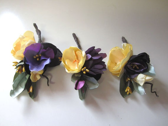 RESERVED for Mel  3 Purple and Yellow boutonnieres for Wedding
