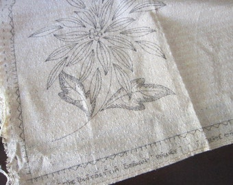 vintage TEXAS CLOTH tablecloth panel - POINSETTIA design for embroidery, 49 x 50 inches